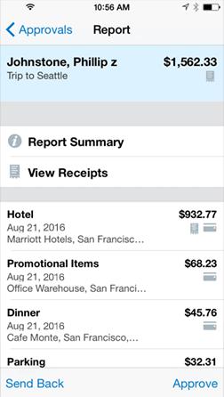 携帯での経費承認画面