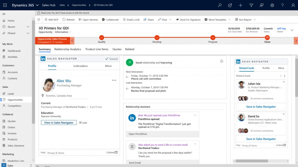 Microsoft Dynamics 365 for Sales screen