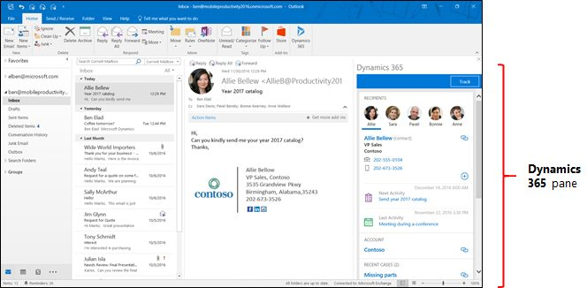 Outlook email screen with Dynamics 365 App for Outlook pane